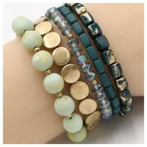 Jewelry - 364-Metal/Stone Stackable Stretch Bracelet-5pcs